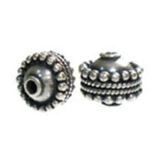Bali 925 sterling silver beads, Dotted Wheel 7,5x8,5mm