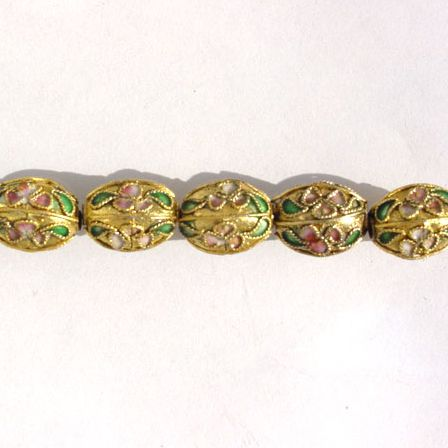 CLOISONNE BEADS - GOLDEN EGG\'S 9X11MM