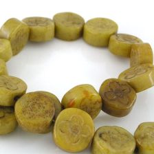 JADE GEMSTONES BEADS - JADE FLOWER COIN ANTIQUE 15X7MM