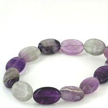 FLUORITE PUFFED OVAL BEADS 10X14MM