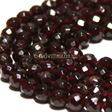GARNET FACETED ROUND BEAD 6MM