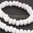 JADE GEMSTONES BEADS - WHITE JADE RONDELLES 8X5MM