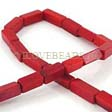 CORAL BEADS RED - LONG CUBE BEADS 6X14MM