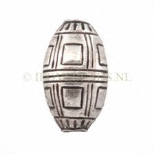 Thai Silver Beads, Large Silver Bead Tribe Oval-Square 20,5x12mm