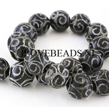 ONYX GEMSTONES BEADS - BEAD CURLS HAND CARVED 14 á 15MM