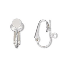 SILVER PLATED CLIP ON EARRINGS,  WITHOUT PIERCED EARS! GLUE PAD