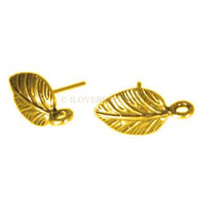 EARRING POSTS GOLD ON 925 STERLING SILVER, EARRING LEAF