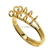 22K GOLD PLATED TEN LOOP BEADING RINGS ADJUSTABLE