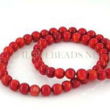 CORAL BEADS - RED ROUND  5.5 á 6MM