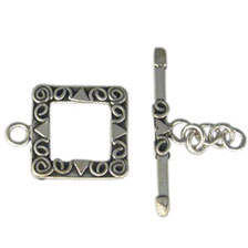 SILVER TOGGLE CLASP, LUXE SQUARE CLASP 16MM