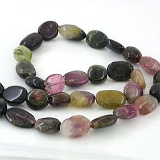 TOURMALINE PUFFED OVAL BEADS 9X9.5-13MM