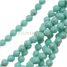 TURQUOISE FACETED BEADS 6MM